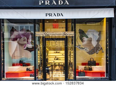 NEW YORK, USA - JULY 29, 2016: View of the Prada store in New York City. Prada is an Italian luxury fashion house founded in Milan by Mario Prada at 1913.