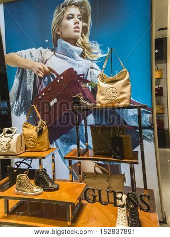 FLORENCE, ITALY - SEPTEMBER 22, 2016: Detail from Guess store in Florence Italy. Guess is American upscale clothing line brand founded at 1981 and have more than 480 shops worldwide.