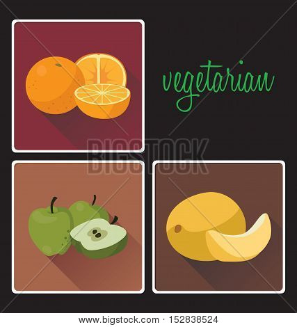 Vegetarian foods: oranges cantaloupe apples. For your convenience each significant element is in a separate layer. Eps 10