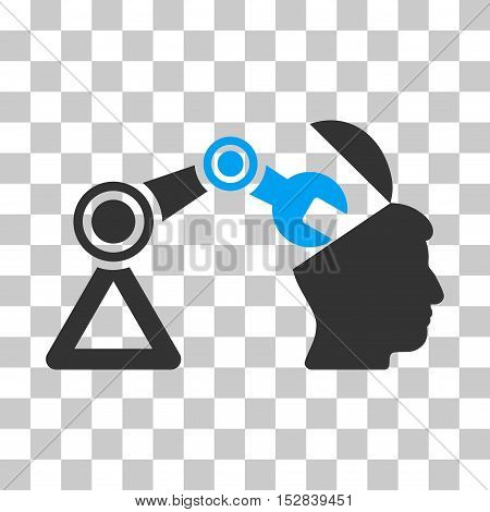 Blue And Gray Open Head Surgery Manipulator interface toolbar pictogram. Vector pictogram style is a flat bicolor symbol on chess transparent background.
