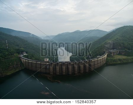 Bhumibol Dam Aerial Photo. tak thailand travel. aerial photo.