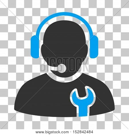 Blue And Gray Service Operator interface toolbar icon. Vector pictogram style is a flat bicolor symbol on chess transparent background.