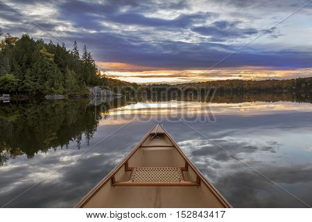 Canoe Bow At Sunset - Ontario, Canada