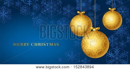 vector christmas card with golden baubles and snow crystals on blue background