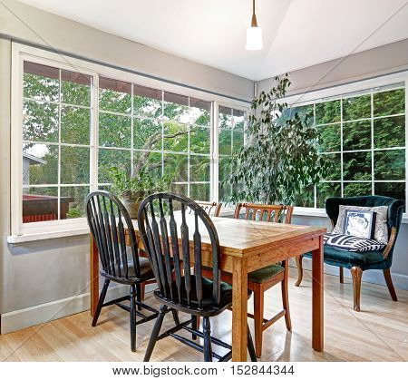 Cozy summer room with dining table set vintage green velvet armchair near the lemon tree pot and light tones hardwood floor. Northwest USA
