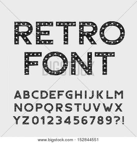 Retro alphabet font. Scratched type letters and numbers. Stock vector typography for your design.
