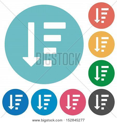 Flat descending ordered list mode icon set on round color background.