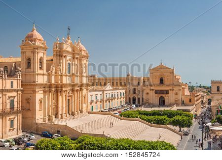 NOTO ITALY - SEPTEMBER 14 2015: Noto Cathedral is a Roman Catholic cathedral in Noto in Sicily Italy. UNESCO World Heritage Site.