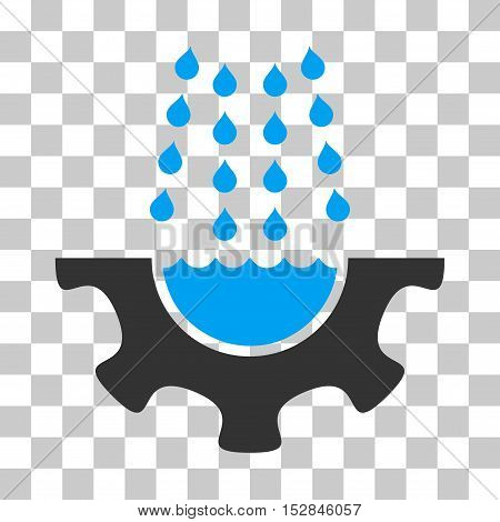 Blue And Gray Water Shower Service Gear toolbar icon. Vector pictogram style is a flat bicolor symbol on chess transparent background.