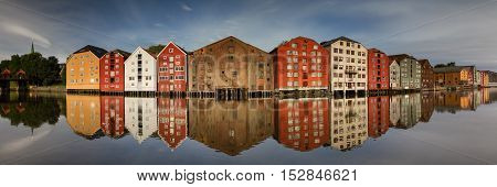 Panorama of the old wooden storehouses Trondheim Norway