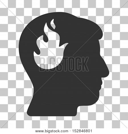 Gray Brain Fire toolbar pictogram. Vector pictogram style is a flat symbol on chess transparent background.