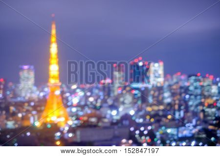 defocus bokeh blurred of beautiful TokyoTower great for your design