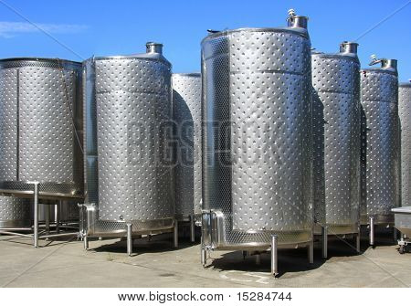 Fermentation tanks at a winery.