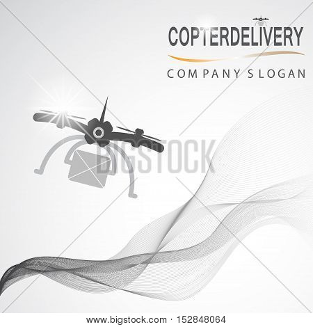 Vector branding company. Branding company vector background. Copter delivery company vector design. Drone template for company. Abstract drone template.