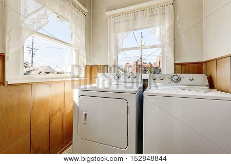 Old House Laundry Room Interior With Old Fashioned Appliances
