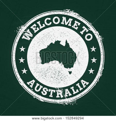 White Chalk Texture Retro Stamp With Commonwealth Of Australia Map On A Green Blackboard. Grunge Rub