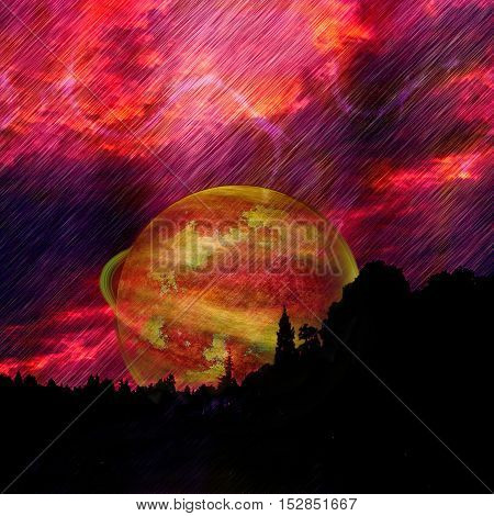 Landscape with dramatic red sky, lightnings, celestial body and silhouettes of trees. Unknown planet nearing a Earth