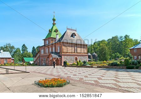 KUREMAE, IDA-VIRUMAA COUNTY, ESTONIA - AUGUST 21, 2016: Refectory Church of St Simeon and St Anna. Puhtitsa Dormition Convent. The Estonian Orthodox Church of Moscow Patriarchate