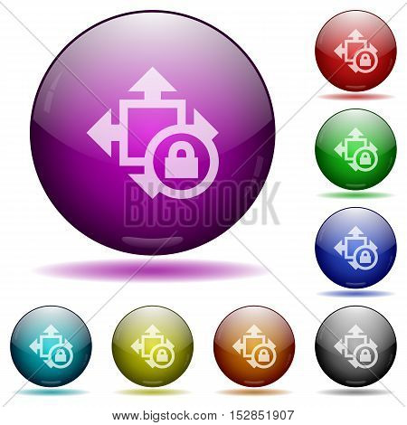 Set of color size lock glass sphere buttons with shadows.