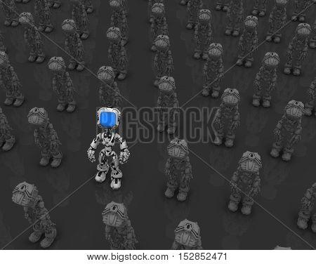 Small robotic figures 3d illustration dark background