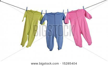 Baby sleepers on the clothesline, studio isolated on white. poster