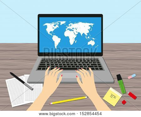 Women in the workplace. Desk, laptop screen, stock vector illustration.