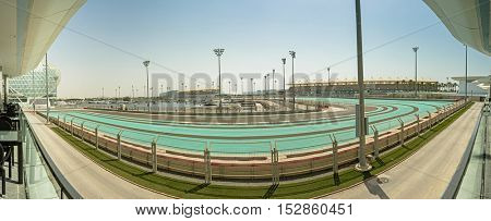 ABU DHABI, UAE - OCTOBER 08, 2016 The Yas Marina Formula 1 Grand Prix Circuit as seen from the balcony of the Viceroy Hotel. The hotel is surrounded by the track and a marina