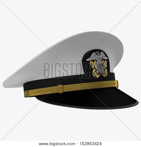 US navy officer's cap isolated on a white background. 3D illustration