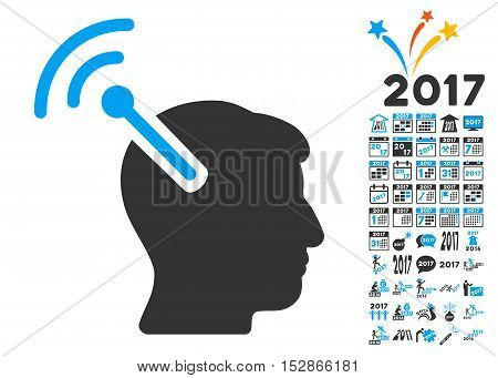 Radio Neural Interface pictograph with bonus 2017 new year images. Vector illustration style is flat iconic symbols, modern colors, rounded edges.