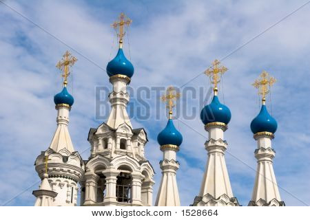 White Orthodox Church In The Center Of Moscow