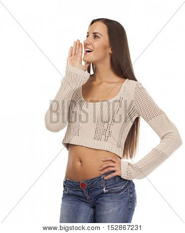 Young beautiful woman shouts toward covering his face with his hand, isolated on white background