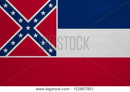 Flag of the US state of Mississippi. American patriotic element. USA banner. United States of America symbol. Mississippian official flag detailed fabric texture illustration. Accurate size colors