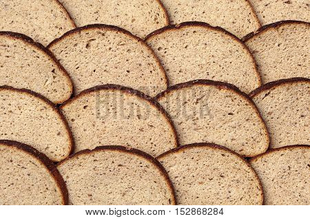 Background semicircular slice of bread. Top view