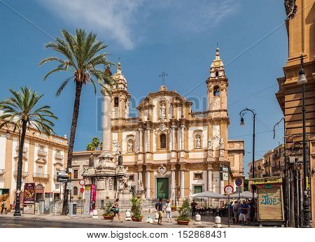PALERMO ITALY - SEPTEMBER 6 2015: Panoramic view of the Basilica San Domenico or Chiesa di San Domenico e Chiostro and square S.Domenico in Palermo Sicily.