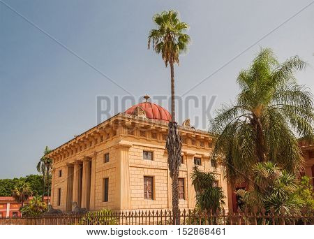 The main entrance to the Botanical Garden which is among the oldest modern centers for botanical studies in the Mediterranean region Palermo Sicily Italy.