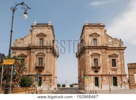 The Porta Felice is main gate of Palermo in Sicily Italy.