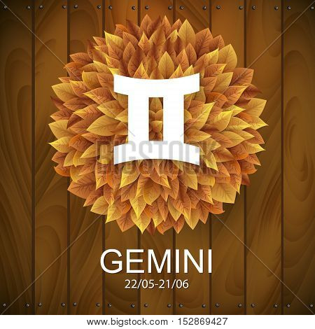 Sign of the zodiac. Gemini horoscope. white sign with a circle of autumn leaves. Wooden planks background.