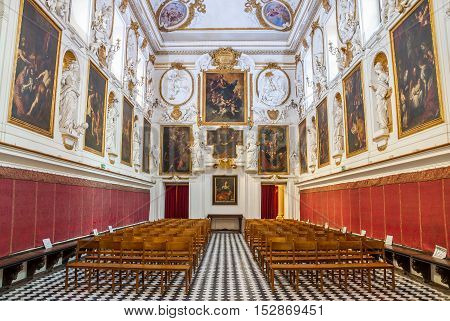 PALERMO ITALY - SEPTEMBER 9 2015: Interior of the Church of San Domenico or Chiesa di San Domenico in Palermo Sicily Italy.