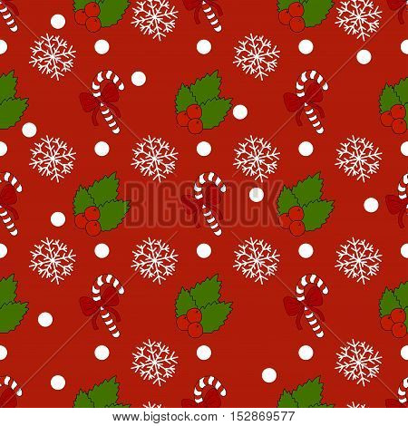 New Year pattern with christmas decoration elements. Happy holidays pattern with christmas candy and  snow on a red background.