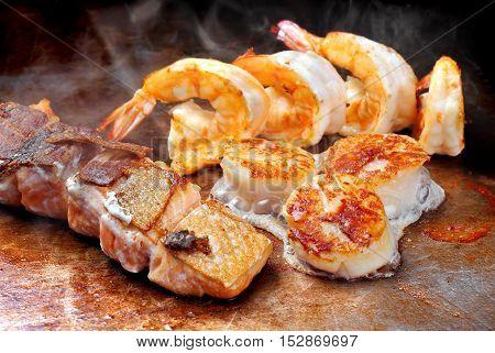 Japanese Teppanyaki Fried Seafood Mix
