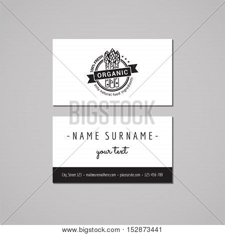 Organic food business card design concept. Logo with asparagus and ribbon. Vintage hipster and retro style.