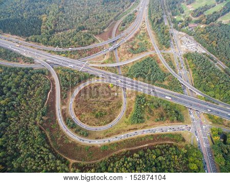 road junction in the countryside aerial view in Netherlands