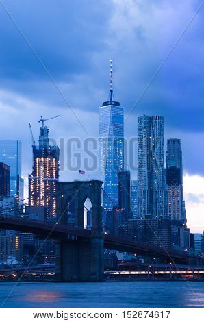 Brooklyn Bridge And Lower Manhattan At Dusk