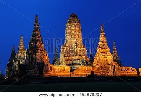 the beautiful watchaiwattanaram at ayuthaya Thailand for tourism landmark