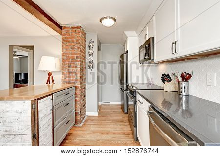 White And Grey  Kitchen Room Interior