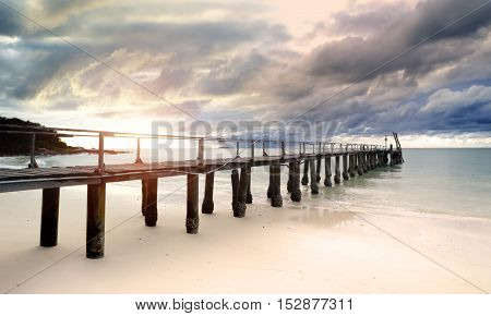 Sea Wooden Bridge In The Morning