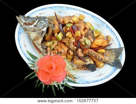 Barramundi Or Silver Perch Cooking In Thai Style