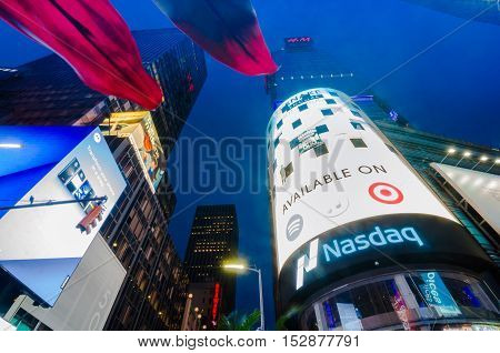 Times Square, Broadway Theaters And Led Signs At Night, A Symbol Of New York City And The United Sta