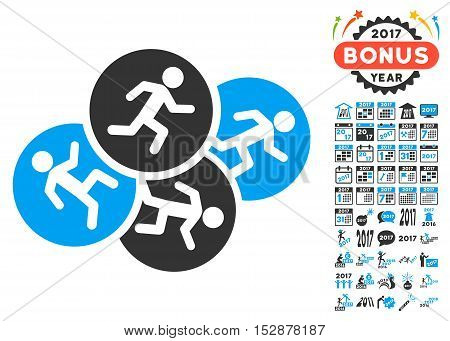 Running Men icon with bonus 2017 new year pictograph collection. Vector illustration style is flat iconic symbols, modern colors, rounded edges.