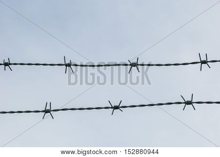 Barbed wire occlusion background, security and danger